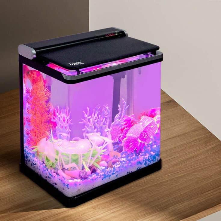 Hygger Smart 4 Gallon Fish Tank Starter Kit Small Glass Desktop Aquarium with Flip Lid Led Lighting for Betta