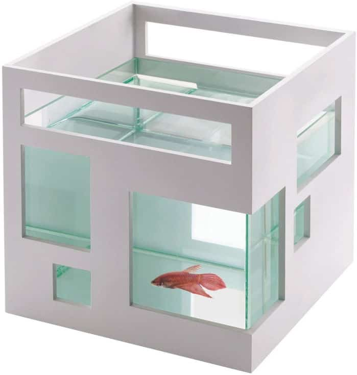Umbra 460410-660 FishHotel Unique Glass 2 Gallons Mini Aquarium Tank Bowl for Goldfish Betta Glofish and Small Fish perfect as Home Business Birthday Gift Ideas, White